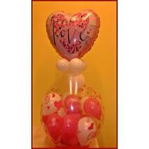Szívecskés csomagolás rózsaszín fólialufival