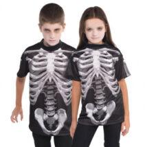 Fekete fehér csontvázas póló