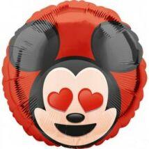 17 inch-es Mikiegér - Mickey Mouse Love - Szív Szemű Emoticon Fólia Lufi