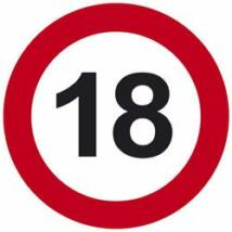 18. Sebességkorlátozó Számú Születésnapi Tábla - 40 cm