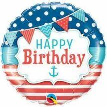 18 inch-es Birthday Nautical and Pennants Születésnapi Fólia Léggömb