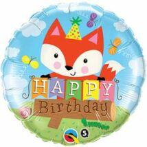 18 inch-es Birthday Party Fox Szülinapi Fólia Léggömb