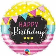 18 inch-es Birthday Pennants and Pink Stripes Születésnapi Fólia Léggömb
