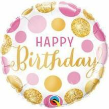 18 inch-es Birthday Pink & Gold Dots Születésnapi Fólia Léggömb