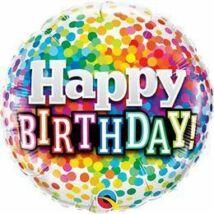 18 inch-es Happy Birthday Szivárvány Konfetti Születésnapi Fólia Léggömb