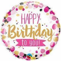 18 inch-es Happy Birthday to You Pink & Gold Születésnapi Fólia Léggömb