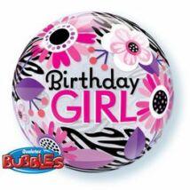 22 inch-es Birthday Girl Virágos Zebra Stripes Születésnapi Bubble Léggömb