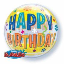 22 inch-es Birthday Fun & Yellow Bands Születésnapi Bubble Léggömb