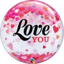 22 inch-es Love You Konfetti Szívecske Szerelmes Bubble Lufi