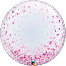 24 inch-es Rózsaszín Konfetti Pöttyös Mintás - Pink Confetti Dots Deco Bubbles Lufi