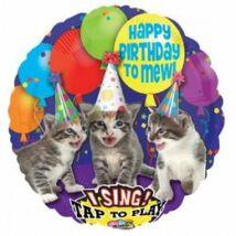 28 inch-es Happy Birthday Macskás Zenélő Születésnapi Fólia Léggömb