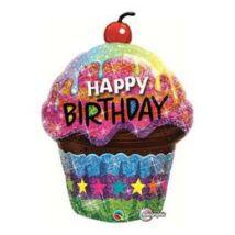 35 inch-es Birthday Dazzling Cupcake Holografikus Szülinapi Fólia Léggömb