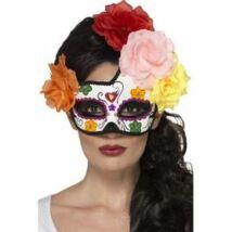 Színes mexikói halottak napja maszk rózsaszín