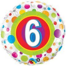 18 inch-es Colorful Dots - Színes Pöttyös 6. Szülinapi Születésnapi Számos Fólia Léggömb