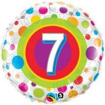 18 inch-es Colorful Dots - Színes Pöttyös 7. Szülinapi Születésnapi Számos Fólia Léggömb