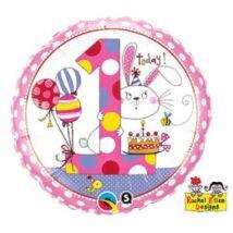 18 inch-es Nyuszi – Age 1 Bunny Polka Dots 1. Szülinapi Születésnapi Számos Fólia Léggömb
