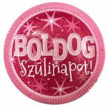 Boldog Szülinapot Rózsaszín Parti Tányér, 23 cm-es, 6 db-os