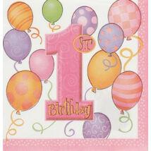 First Birthday Balloons Pink - Rózsaszín Léggömbös 1. Számos Születésnapi Party Szalvéta - 33 cm x 33 cm, 16 db-os