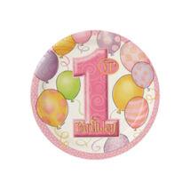 First Birthday Balloons Pink - Rózsaszín Léggömbös 1. Számos Születésnapi Party Tányér - 18 cm, 8 db-os