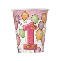 First Birthday Balloons Pink - Rózsaszín Léggömbös 1. Számos Születésnapi Party Pohár - 266 ml, 8 db-os