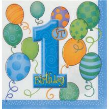 First Birthday Balloons Blue - Kék Léggömbös 1. Számos Születésnapi Party Szalvéta - 33 cm x 33 cm, 16 db-os