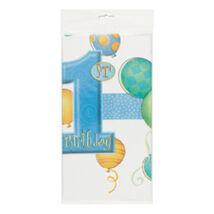 First Birthday Balloons Blue - Kék Léggömbös 1. Számos Születésnapi Party Abrosz - 137 cm x 213 cm