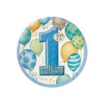 First Birthday Balloons Blue - Kék Léggömbös 1. Számos Születésnapi Party Tányér - 18 cm, 8 db-os
