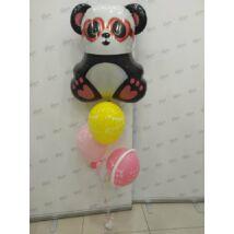 Héliumos léggömb csokor szemüveges pandával
