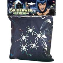 100g fekete pókháló 5 sötétben villágító pókkal