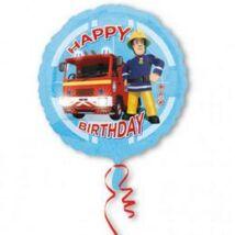 18 inch-es Fireman Sam Happy -Tűzoltó Birthday Születésnapi Fólia Lufi/Léggömb