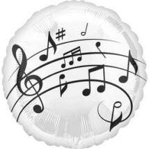 18 inch-es Music Fun - Violinkulcs - Hangjegyek Mintás Fólia Lufi/Léggömb - Zene/Music