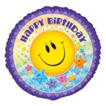 18 inch-es Smile Stars Birthday Születésnapi Fólia Léggömb