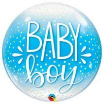 22 inch-es Baby Boy Blue & Confetti Dots Bubble Lufi Babaszületésre