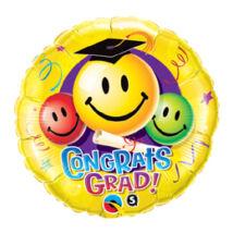 18 inch-es Congrats Grad! Smile Faces Ballagási Fólia Léggömb