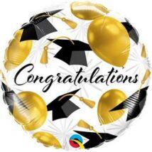 18 inch-es Congratulations Gold Balloons Ballagási Fólia Lufi