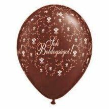 11 inch-es Sok Boldogságot Chocolate Brown Virágmintás Léggömb Esküvőre