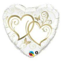 18 inch-es Entwined Hearts Gold Esküvői Szív Fólia Léggömb