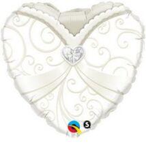 18 inch-es Menyasszonyi Ruha Esküvői Szív Fólia Léggömb