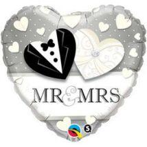 18 inch-es Mr. & Mrs. Wedding Esküvői Szív Fólia Léggömb