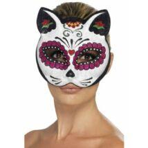 Sugar Skull Cat Glitteres Szemmaszk