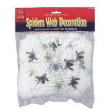 Fehér Pókháló 6 db Pókkal - UV-s