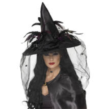 Fekete Boszorkány Kalap Tollakkal