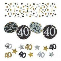 40-es Szülinapi Számos Arany - Ezüst Vegyes Konfetti Válogatás - 34 gramm