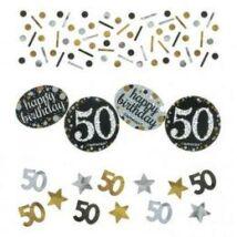 50-es Szülinapi Számos Arany - Ezüst Vegyes Konfetti Válogatás - 34 gramm