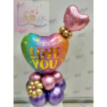 I love you dupla szíves színes asztali dekoráció