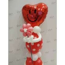 Valentin smiley dekoráció virággal