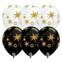 11 inch-es Arany Csillag Mintás - Star Patterns White & Onyx Black Lufi