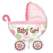 Baby Buggy Girl Super Shape Bébi Fólia Léggömb Babaszületésre