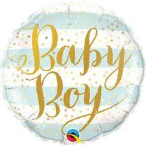 18 inch-es Baby Boy Blue Stripes Fólia Lufi Babaszületésre