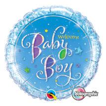18 inch-es Welcome Baby Boy Stars Holografikus Fólia Lufi Babaszületésre